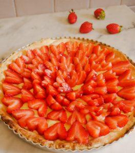 Tarte cœur citron fraises
